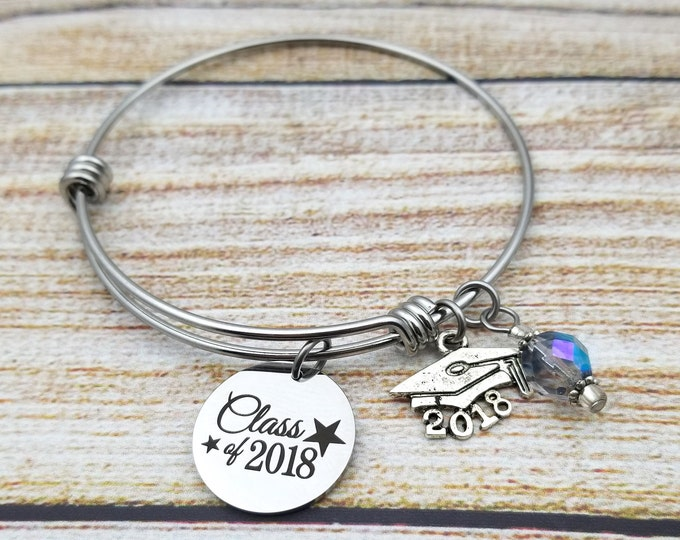 Class of 2018 with stars accent Customizable Expandable Bangle Charm Bracelet, graduation, high school, college, gold tone
