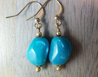 Clear Water Earrings - Tide Shaped - Aqua, sky blue, robin's egg, gold, small, simple, iridescent, AgAuCu, delicate, opalescent, turquoise