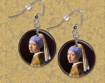 """Vermeer's Girl With A Pearl Earring Art 1"""" Button Dangle Earrings FREE Matching Pin USA Seller"""