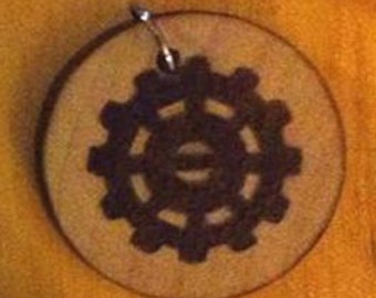 Wood Burned Steampunk Gear Pendant
