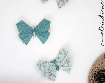 Set of 3 decorative origami butterflies / / decorative wall origami / / blue tones / / small series