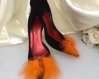 Wedding shoe clips Orange Feather Shoe Clips, Wedding Shoe Clips, bridal shoe clips, feathered shoe clips