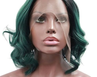 Synthetic Ombre Green Lace Front Bob Wig