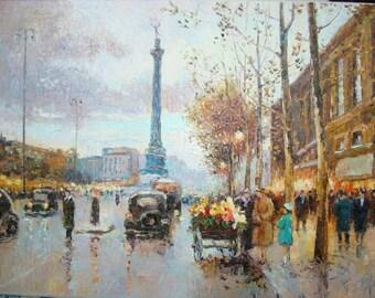 """Recreation of """"The Place de la Bastille"""" by Eduard Cortes."""