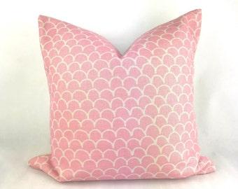 Pink cushion, light pink cushion, pink mermaid cushion, pink print cushion, baby pink cushion cover, pink throw pillow