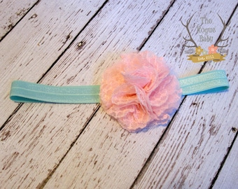 Light Pink & Aqua Headband - Baby Wedding Flower Girl Photo Prop - Newborn Girls Adult Chiffon Lace Candy Pastel Pink