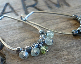 Petiole Earrings - Handmade. Peridot. Prehnite. Oxidized sterling silver Hoops