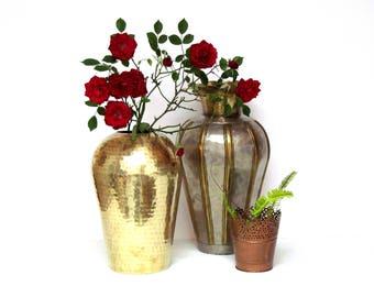 Hammered Brass Vase, Vintage Boho