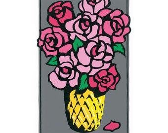 Roses in Vase, silkscreen print