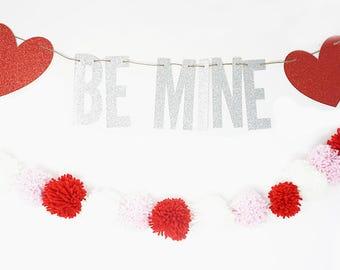 Be Mine Valentine Banner/Pom Set