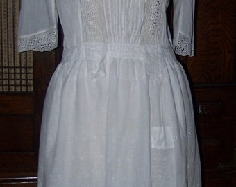 ON SALE ANTIQUE Edwardian Beautiful White Eyelet Dress With Old Repairs Charming Simple Project