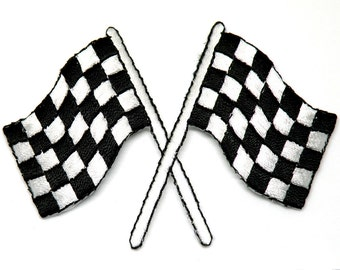 Race Flags Racing, Racing Car Birthday Gift Patch Iron On Patch Race Car Flag Checkered Flag auto racing motorsports Cedar Creek Patch Shop