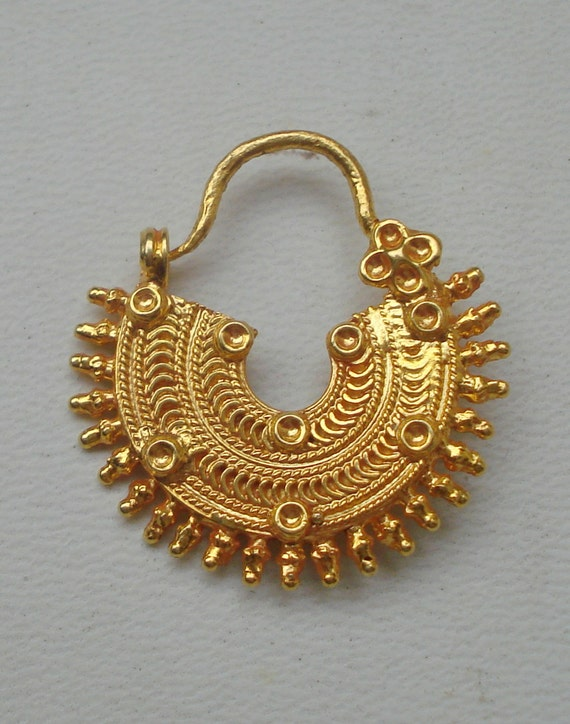 traditional design 20k gold nose ring nath nose ornament
