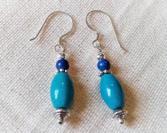 Turquoise earrings simple Nepal