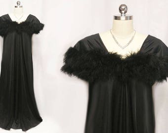 Vintage Intime of California Fluffy Double Layer of Marabou Nightgown Dressing Gown in Bewitching Black marabou nightgown intime nightgown