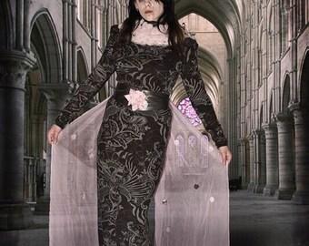 kleid maxikleid maxidress maxi winter langarm blumen floral muster gothic schick elegant