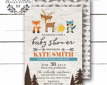 Woodland Baby Shower Invitations - Baby Boy Shower Invitation - Forest animals - Deer, Fox, Raccoon - Rustic