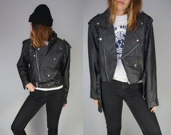 Vintage Black Motorcycle Jacket | Leather Cropped Moto Jacket blk | Classic 80s does 50s Style | M L