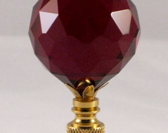 Lamp Finial-Stunning Leaded Crystal Lamp Finial**RED**Brass Base