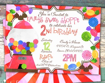 Candy Sweet Shop Party Watercolor Personalized Birthday Printable Invitation Print at Home