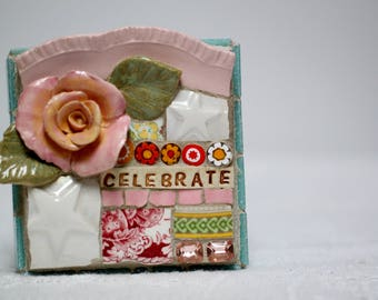 CELEBRATE,  mosaic wall art, gift