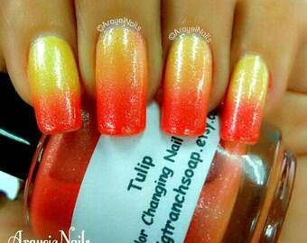 Color Changing Nail Polish-Glitter - Mood Nail Polish-TULIP-Orange to Yellow-Hand Blended Polish - FREE U.S. SHIPPING