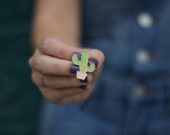 Enamel Cactus Pin, Lapel Pin, Hat Pin