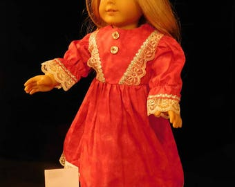 "Dark Pink with White Lace Trim American Girl Doll Dresses/18"" Doll"