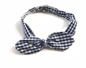 Gingham Headband Plaid Checkered  Women Girl Teen Elastic Head Wrap Bow Rounded Rabbit Ears (Black/White)