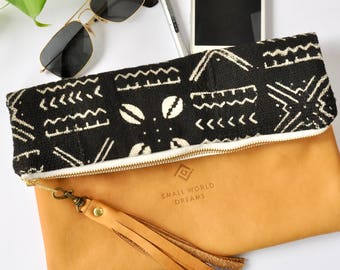 Leather Foldover Clutch  - Boho Leather Purse - Tribal Mudcloth- Hipster bag - Leather Clutch bag - Handmade in Australia