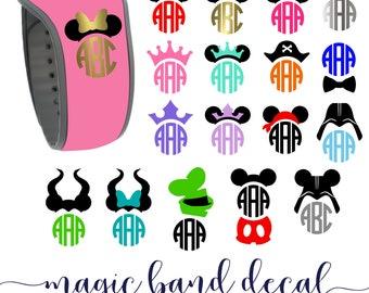 Magic band decal, magic band 2.0 decal monogram, magic band sticker, mickey ear with monogram, monogram disney, magicband 20