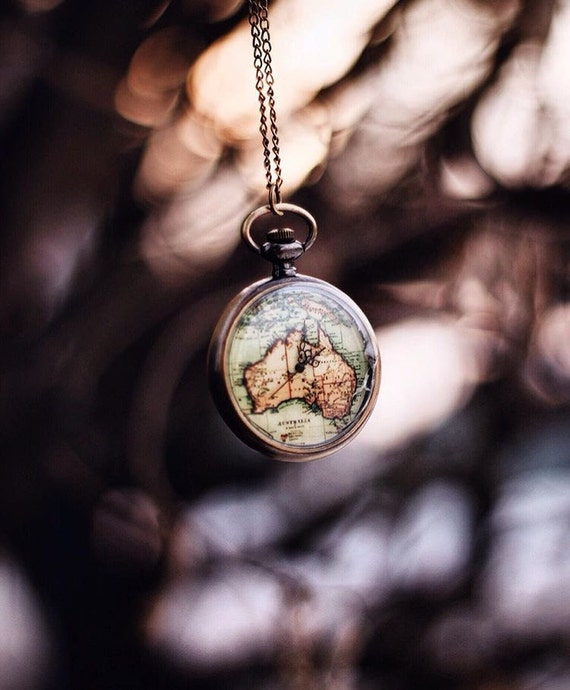 World map pocketwatch necklace wanderlust travel lover gumiabroncs Choice Image