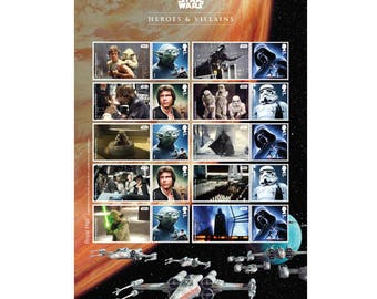 STAR WARS™ 2015 Collector Sheet~Heroes & Villains~10 Mint (Unused) Self Adhesive Stamps
