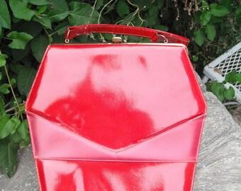 Vintage Red Patent Handbag, Coffin Bag, Deep Rich Red Vinyl Purse