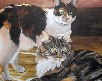 Custom  two Pet Portraits, favorite animals, original watercolor portrait pets to order, 2 pet