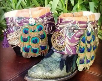 Upcycled Cowboy Boho Boots- Vintage Custom Repurposed-Gypsy Heart