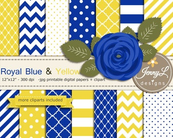Royal Blue and Yellow Digital Paper, Cobalt Blue Flower Clipart for Wedding, Bridal Baby Shower, Birthday, Digital Scrapbooking, Planners