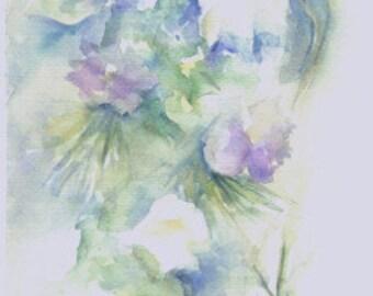 Acuarela ORIGINAL, título CAMPANILLAS 01.  Medidas 43x19 cm. Tema flores.  WATERCOLOR