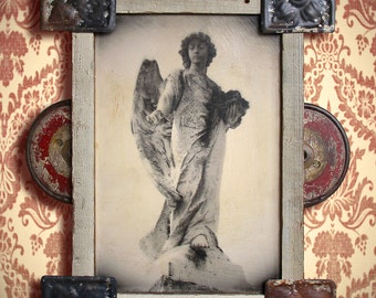 On Reserve. Guardian Angel. Original Encaustic Photo Mixed Media Art. Angel Wings. Angel Assemblage. A GIFT of FLOWERS by Mikel Robinson