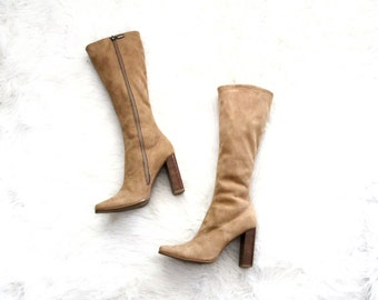 tall boots - vegan boots - 90s knee high boots - Candies - camel faux suede - US size 8 UK 5.5 EU 38.5