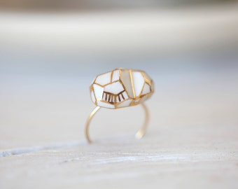Ready to ship, Loire white, porcelain ring, glazed and painted with gold , vermeil ring, jewelry goutte de terre