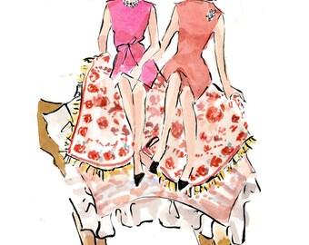 Fashion Illustration Art Print: Jackie O and Lee Radziwill on Camel