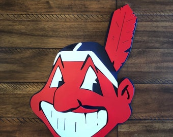 Cleveland Inidans Chief Wahoo Wooden Sign