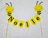 Items similar to Bee cake topper Banner, Beeday Bumblebee ...