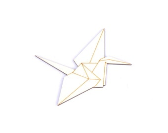 wooden wall sticker- graphical crane (origami)