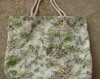 Green Gray Cream Floral Cotton Beach Cruise Resort Tote Bag