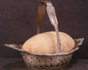 Antique Gorham Sterling Silver Repousse Reticulated Sewing Basket Pin Cushion