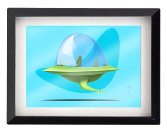 """The Jetsons!! flying car  5""""x7"""" illustration"""