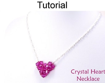 Necklace Beading Tutorial Pattern - Valentines Heart Necklace - Simple Bead Patterns - Crystal Heart Necklace #4655
