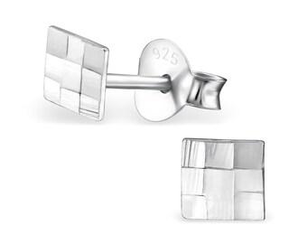 Silver Flat Square Multi-Square Stud Earrings